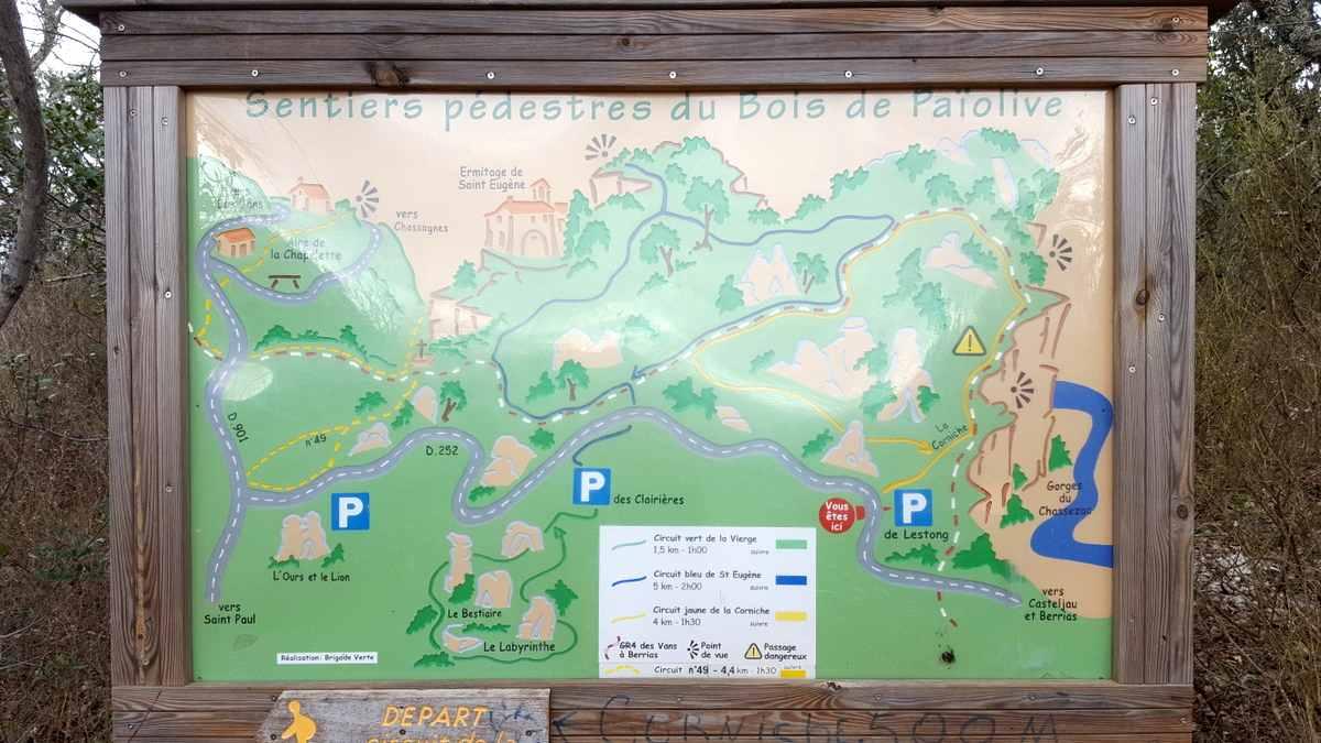 Bois de Païolive, infobord wandelroutes