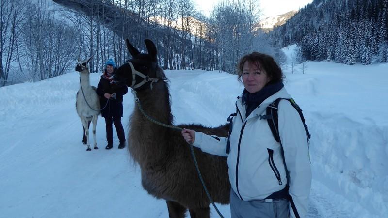 Wandelen met lama's - Begegnunung mensch & Tier - wandelvrouw