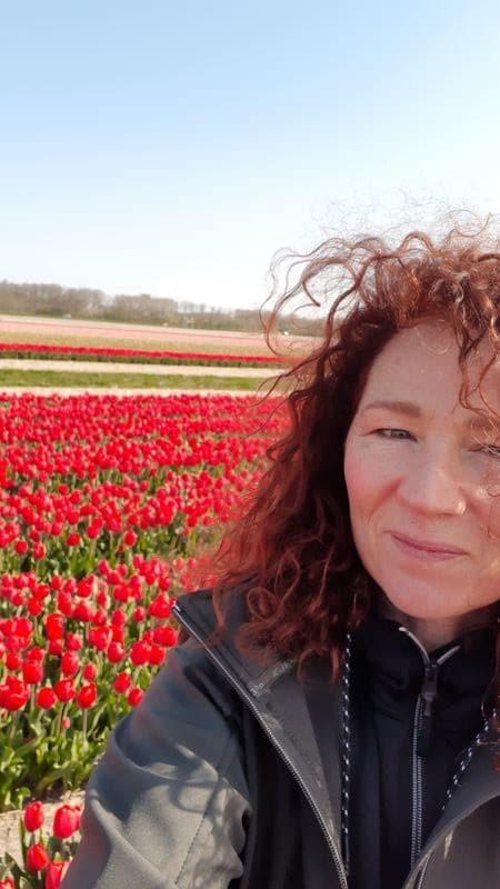 Wandelvrouw in rood tulpenveld